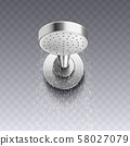 Modern wall mount shower head with round shape and realistic shiny metal surface 58027079