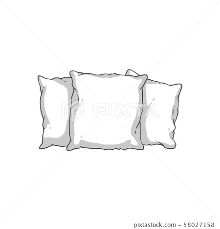 White soft pillow stack isolated on white background - three hand drawn pillows 58027158