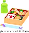商业午餐,塑料瓶装茶和一次性筷子 58027940