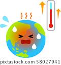 온난화 된 지구 캐릭터와 온도계 58027941