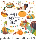 Funny turkeys with Thanksgiving theme on white background 58028374