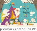 Kids celebrating Christmas with animals and Santa in a teepee tent 58028395