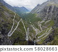 Trollstigen or Trolls Path Trollstigveien famous serpentine mountain road panorama from viewpoint in 58028663