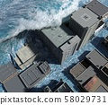 Tsunami wave apocalyptic water view urban flood Storm. 3D illustration 58029731