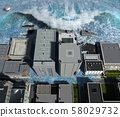 Tsunami wave apocalyptic water view urban flood Storm. 3D illustration 58029732