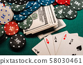 winning combination of cards in poker on the background of money and game chips 58030461