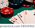 cards with a square of aces in poker on the background of gaming chips on the green table 58030462