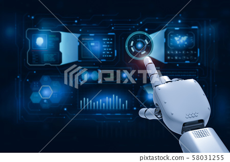 Robotic hand with graphic display 58031255