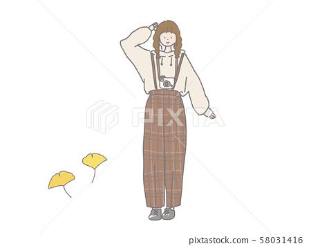 Fashionable camera girl autumn 58031416