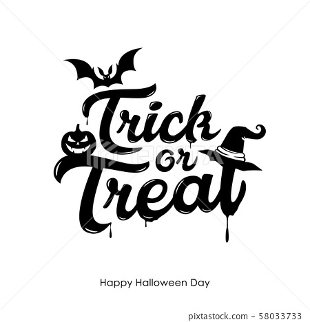 Halloween Trick or treat message vector, and bat  58033733
