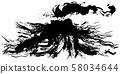 Volcano Eruption Ink writing illustration 58034644