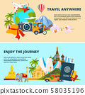 Illustrations of travel theme with pictures of different world landmarks 58035196