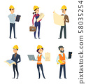 Male and female workers of engineers and other technician professions 58035254