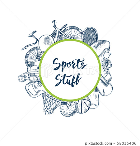 Vector hand drawn contoured sports equipment 58035406