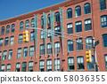 Overseas brick buildings and traffic lights 58036355