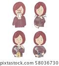 감기 여성의 일러스트 세트 58036730