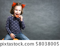 Halloween background with adorable child and space 58038005