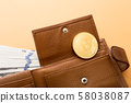 Bitcoin, hundred dollar bills and leather wallet 58038087