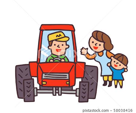 拖拉機和家庭 58038416