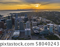 Drone shot of the city of Bellevue from above 58040243