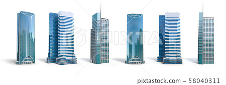Different skyscraper buildings isolated on white.  58040311