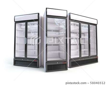 Set of  different empty showcase refrigerators. 58040312