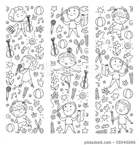 creative kids dancing, sing, playing football, playing guitar, violin, making models from paper 58040866