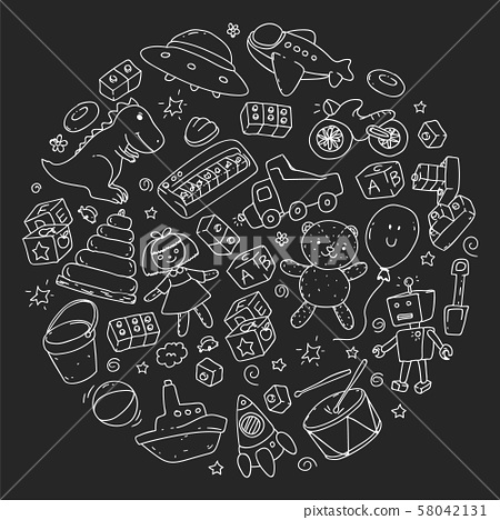 Vector pattern with kindergarten, toy children. Happy children illustration. monochrome chalk 58042131