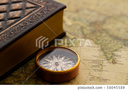 Antique clock pocket watch map retro 58045589