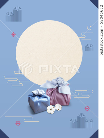 Crepe wrapped gift box and traditional korean pattern 58045652