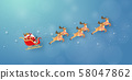 Origami paper art of Santa Claus and reindeer flying on the sky, Merry Christmas and Happy New Year 58047862