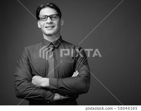 Studio shot of businessman shot in black and white 58048165