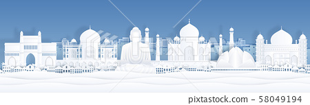 Paper cut India. Landscape travel banner template with Taj Mahal and famous Indian landmarks. Vector 58049194