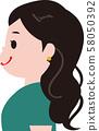 녹색 옷의 여자 파마 표정 아이콘 개요 58050392