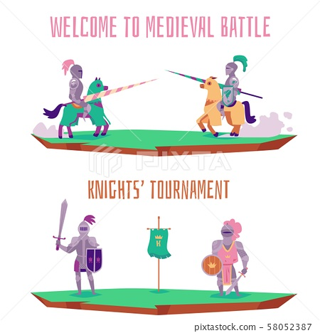 Welcome to medieval battle - cartoon knight tournament banner set 58052387