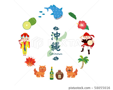 Okinawa cute illustration material 58055016