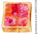 토스트 딸기 58055329