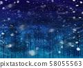 下雪的冬天森林,樹林,繁星點點的天空 58055563