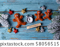 Christmas background with felt gingerbread man 58056515