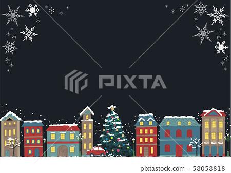 手繪圖片聖誕節市容黑色背景水平 58058818