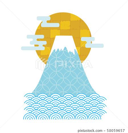 富士山新年賀卡材料日本圖案插圖 58059657