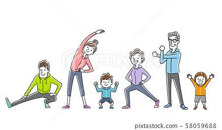 일러스트 소재 : 운동, 스포츠, 체조를하는 가족, 사람들 58059688