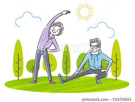 Illustration material: senior couple doing exercise, sports, gymnastics 58059691