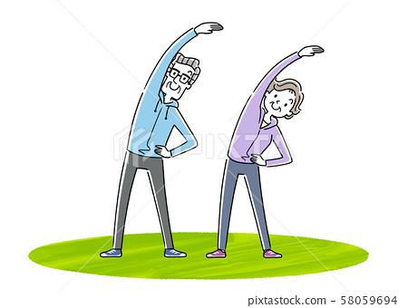 插图素材:高级夫妇做运动,体育,体操 58059694