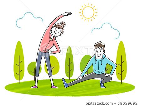 일러스트 소재 : 운동, 스포츠, 체조를하는 젊은 부부 58059695