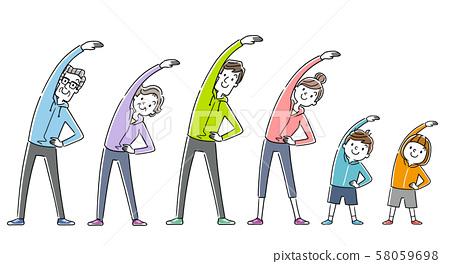 일러스트 소재 : 운동, 스포츠, 체조를하는 가족, 사람들 58059698