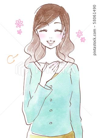 輕鬆的表情的年輕女子 58061490