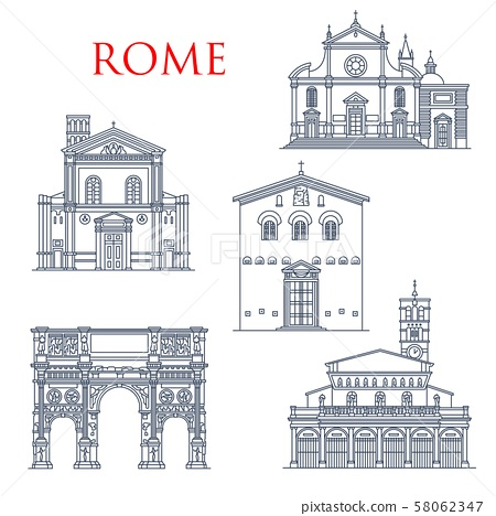 Rome landmarks, Italy famous architecture 58062347