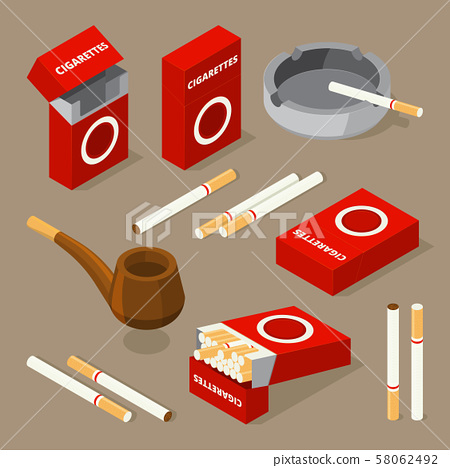 Vector isometric illustrations of cigarettes and various accessories for smokers 58062492
