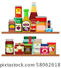 Supermarket foods. Grocery items on shelves 58062618